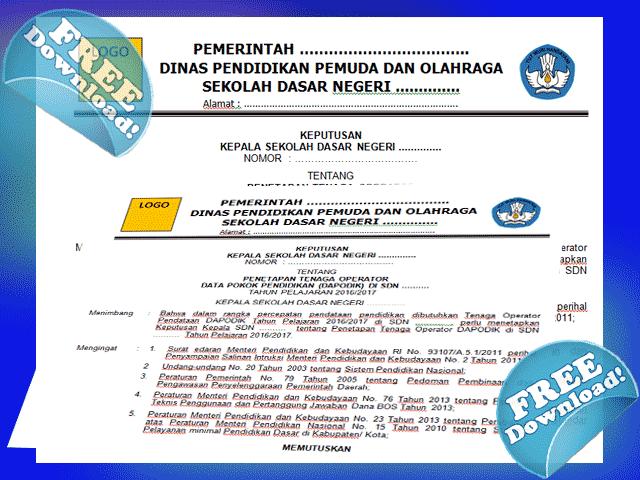 Contoh SK ( Surat Keputusan Operator Sekolah Terbrau 2016/2017