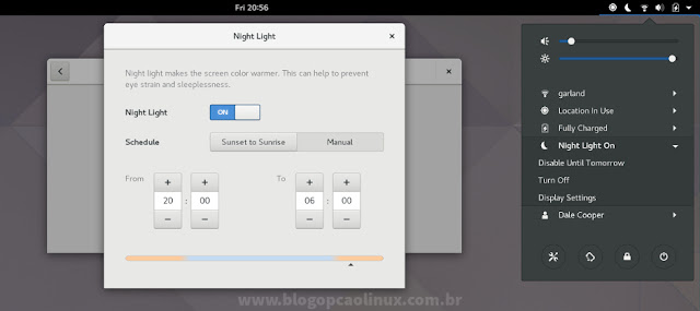 Recurso Night Light implementado no GNOME 3.24