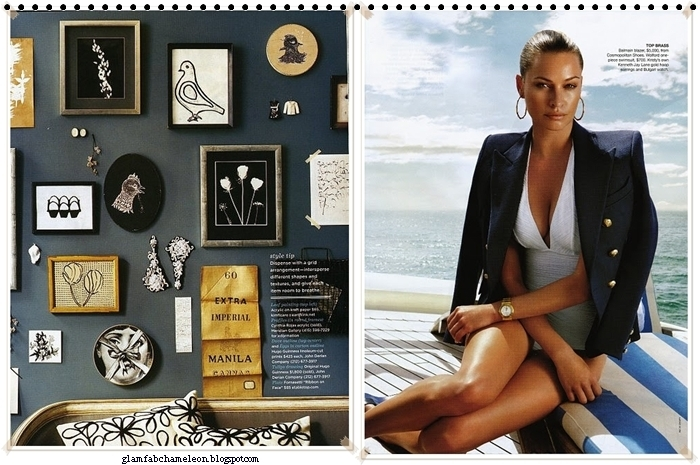 chic dark blue Balmain style blazer with gold buttons and white swimsuit