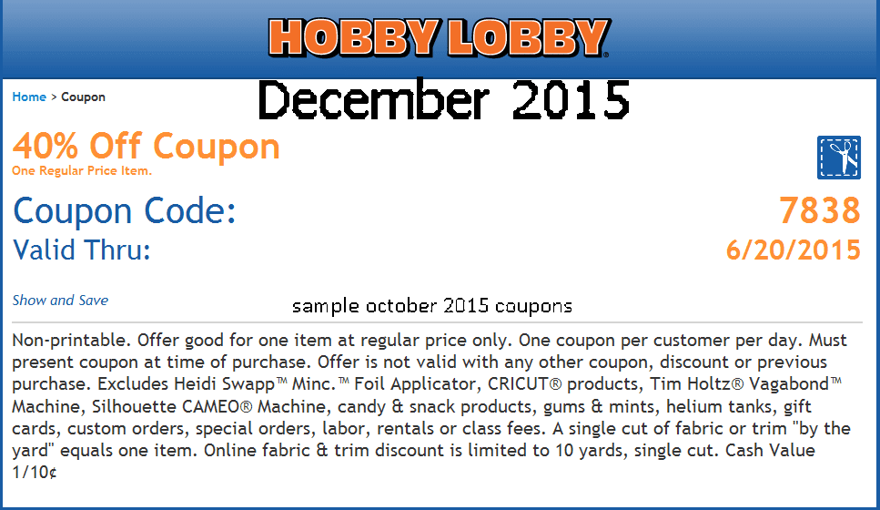 Coupon Code Hobby Lobby Online Catalina Flyer Coupons 2018