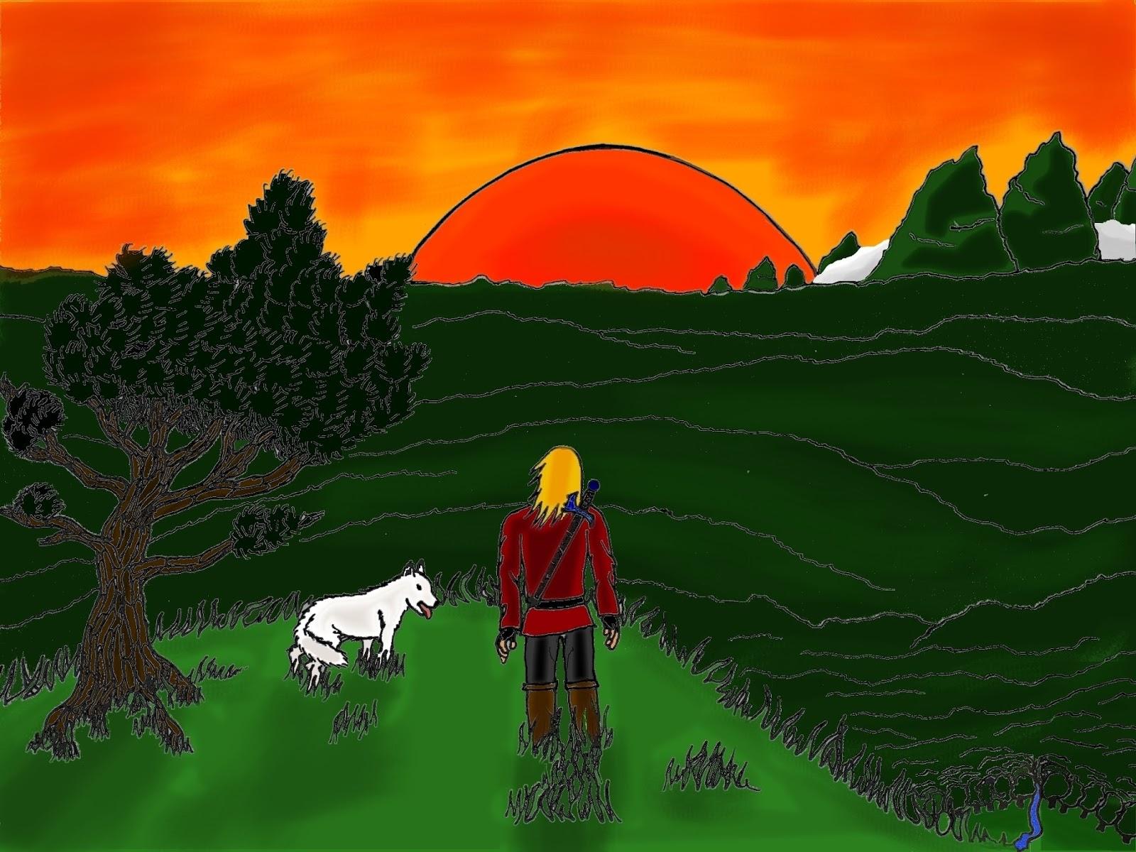vieux dessin de soleil couchant avec un homme et un loup et un pin