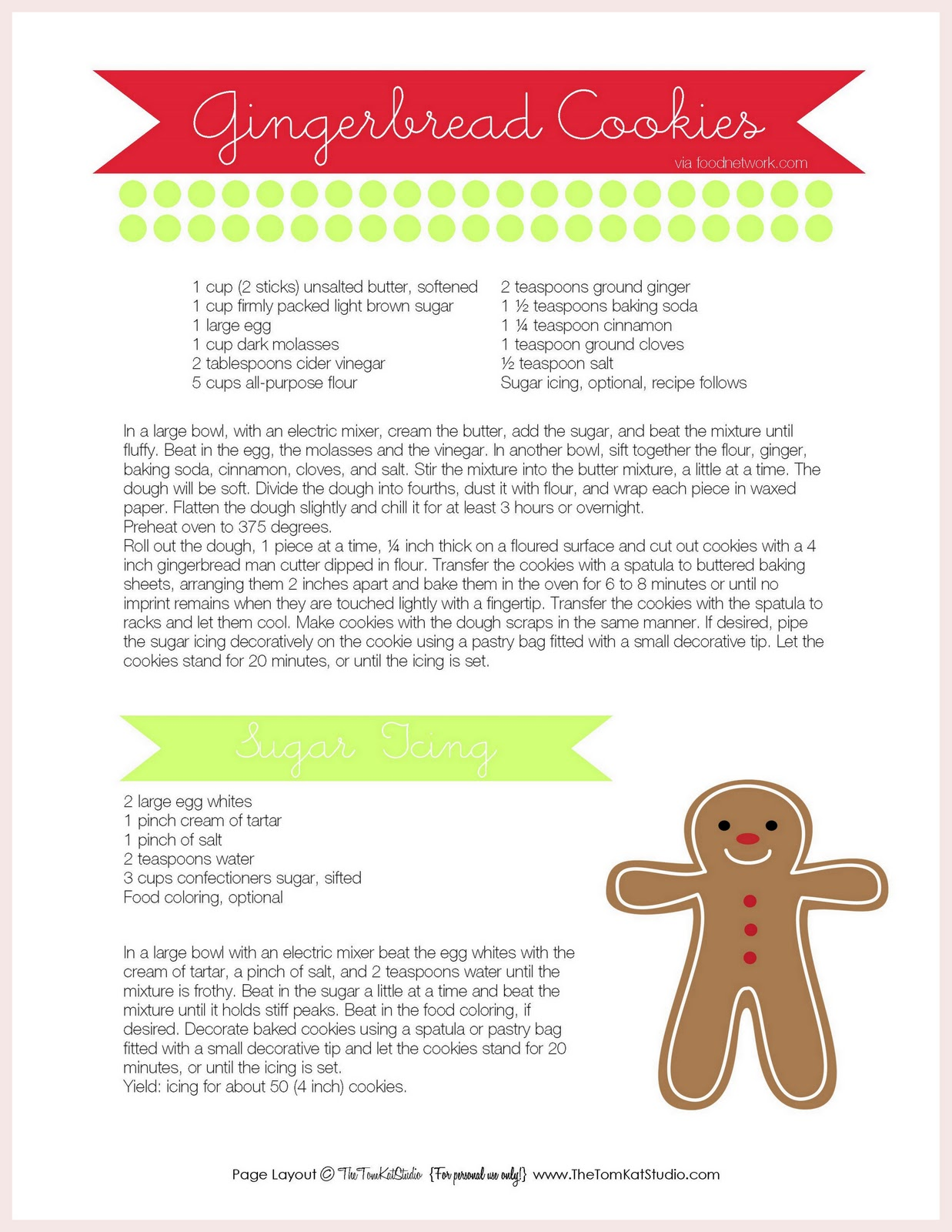 Free Printables Gingerbread Men Cookie Recipe Amp Sweet