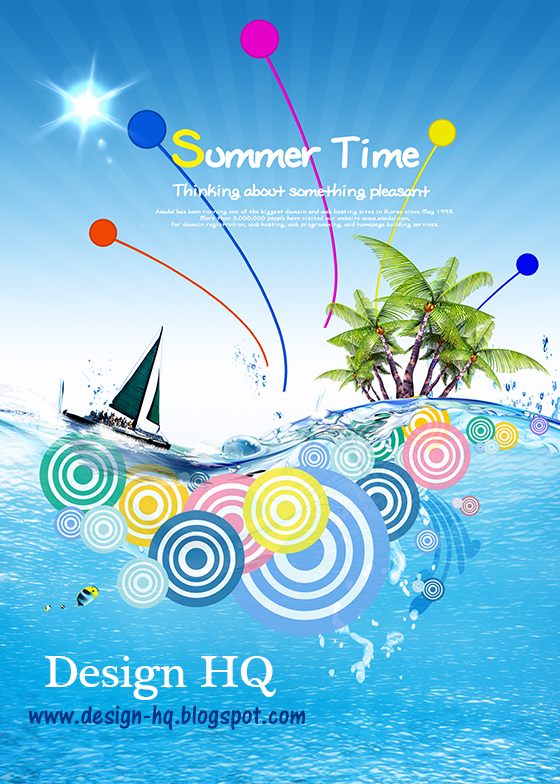 Summer time boat posters PSD material | Download Free Photoshop PSD
