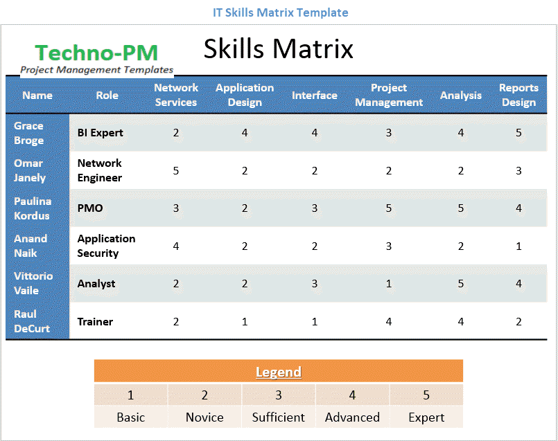IT Skills Matrix Template, IT Skills Matrix Template in PPT