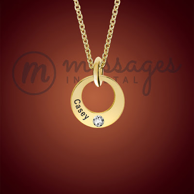 messages in metal gold single ring birthstone personalised necklace