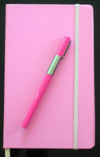 pink writing journal from Lisa B's blog on spiritual mechanics of diabetes