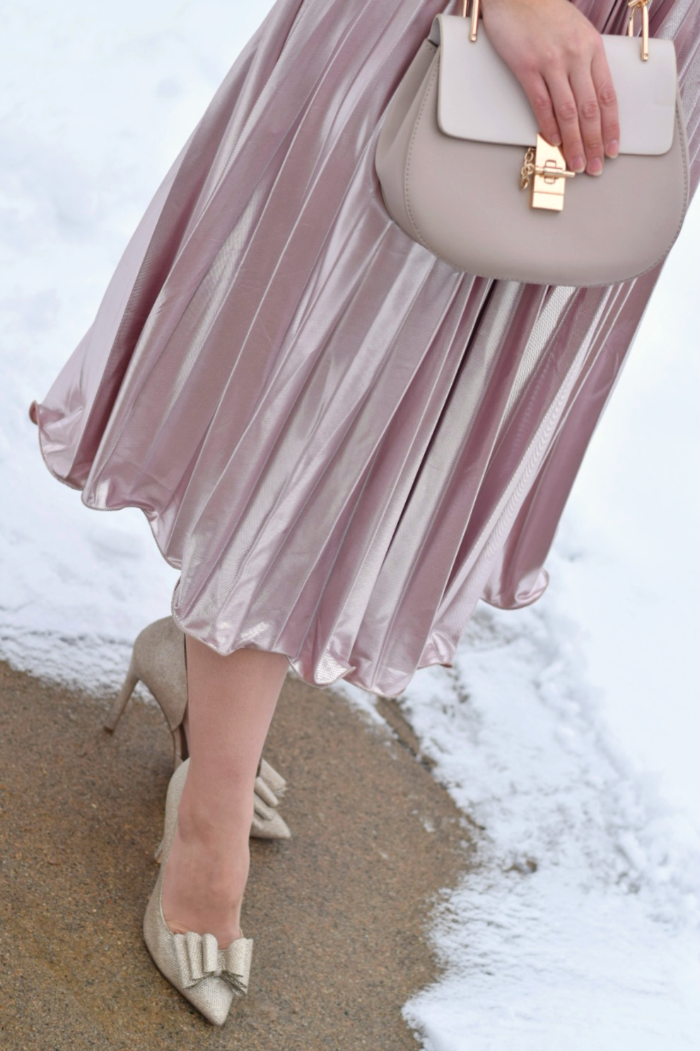 Rose Pleated Dress and Gold Bow Pumps for Valentine's Day