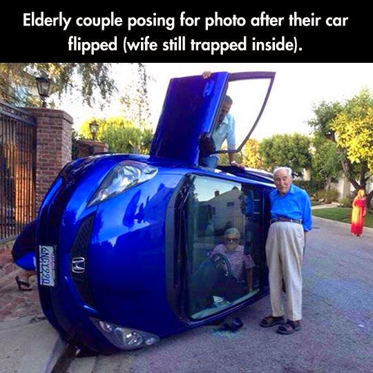 Funny Old Couple Car Accident Photo - Elderly couple posing for photo after their car flipped (wife still trapped inside).