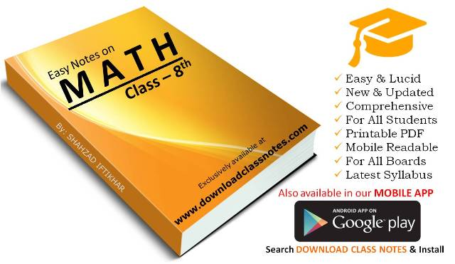 Mathematics Notes for 8th Class / VIII for all Islamabad Model Schools & Colleges