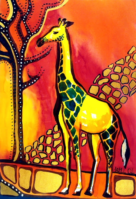Giraffe with Fire painting by Dora Hathazi Mendes