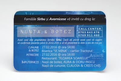 Verso invitatie botez haioasa pentru baietel sub forma de card bancar  albastru