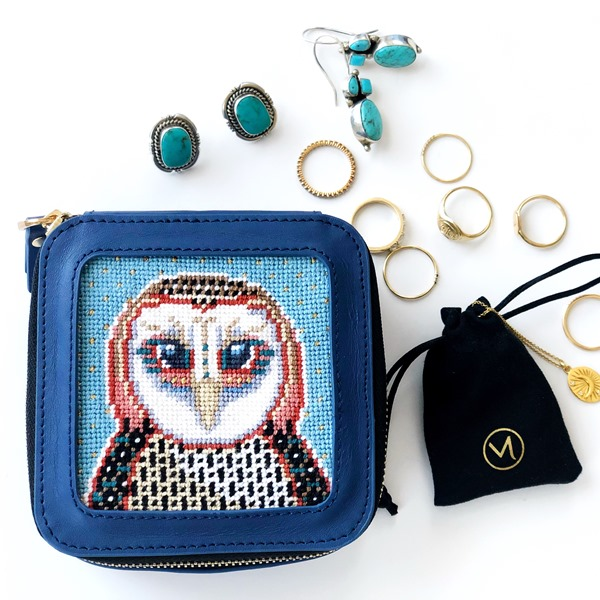Blue Olivier the Owl Needlepoint Jewellery Box by Thorn Alexander