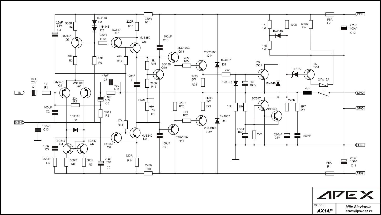 Dk Tech Pcb Audio Power Amplifier Skema Power Amp Class