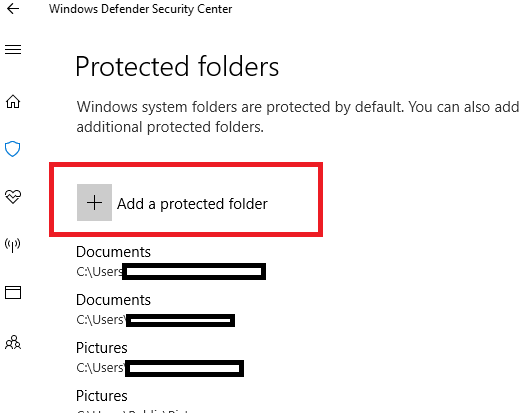 how to allow controlled folder access