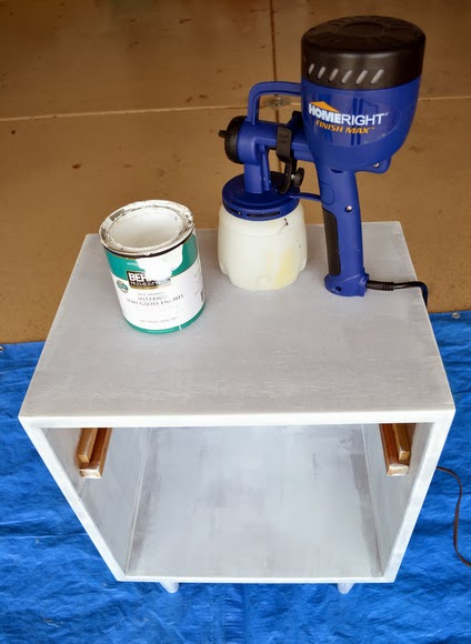 Use a homeright paint sprayer and to coat the nightstand.