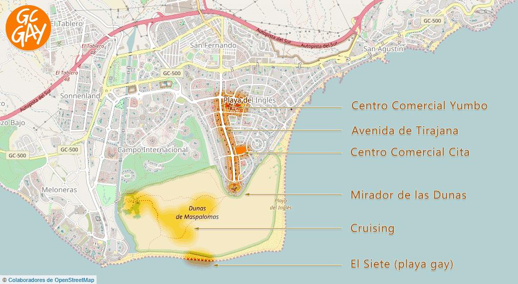 Mapa de Maspalomas. En el centro, la zona gay de Playa del Inglés.