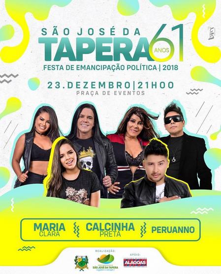 Festa de Emancipação Política de São José da Tapera acontece neste domingo, 23 e  terá Maria Clara, Calcinha Preta e Peruanno