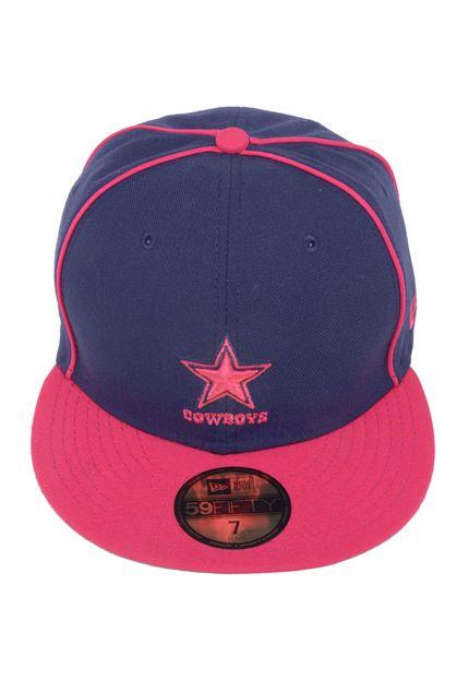 Boné New Era Cowboys Azul, com frente estruturada, bordado frontal e aba reta