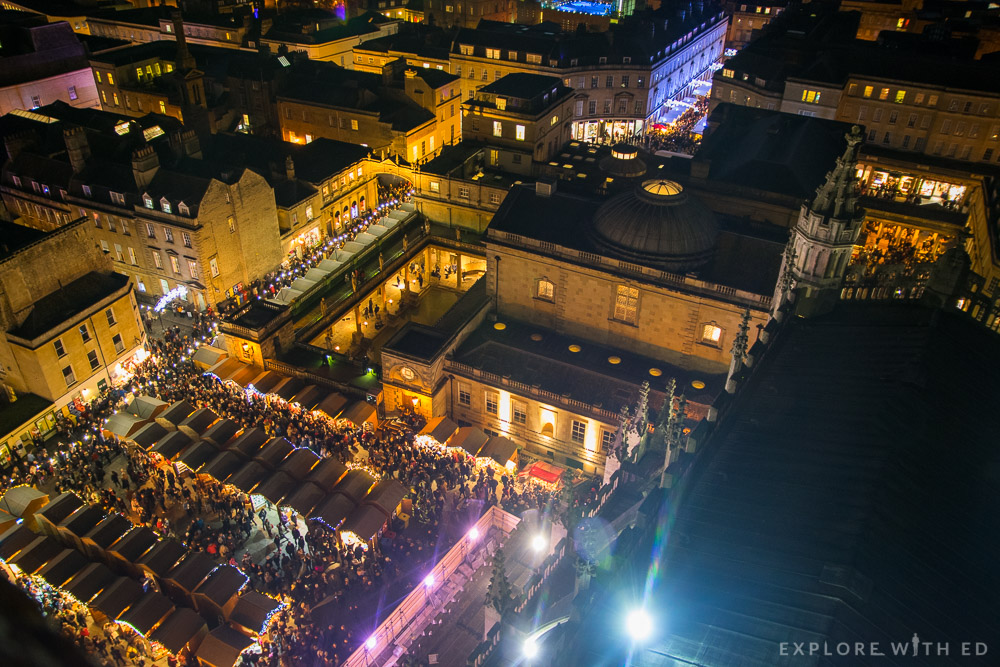 Bath Christmas Market at night from Bath Abbey Tower Tour