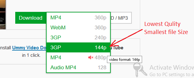 How to download youtube videos in very low quality