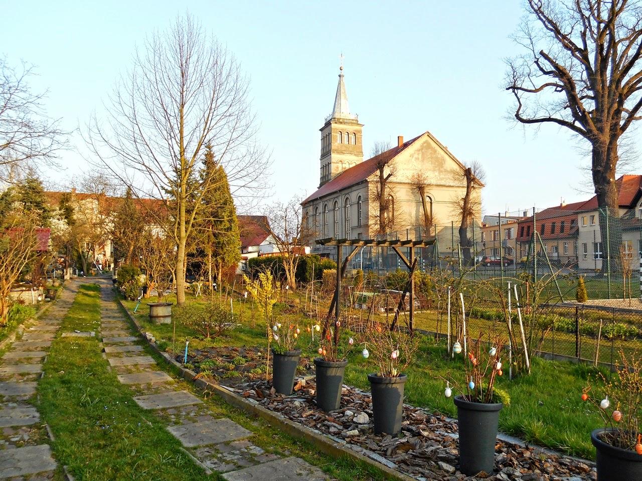 dekoracje, ogród, kościół, Wolsztyn