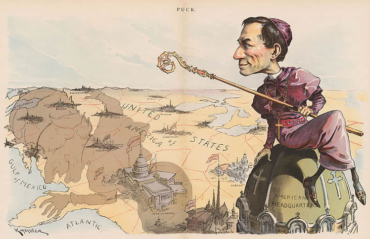 An anti-Catholic cartoon shows Archbishop Francesco Satolli in 1894, casting an evil shadow across the country.