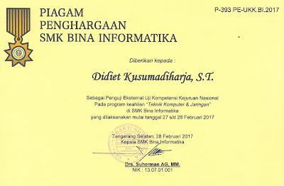 Piagam Penghargaan SMK BI