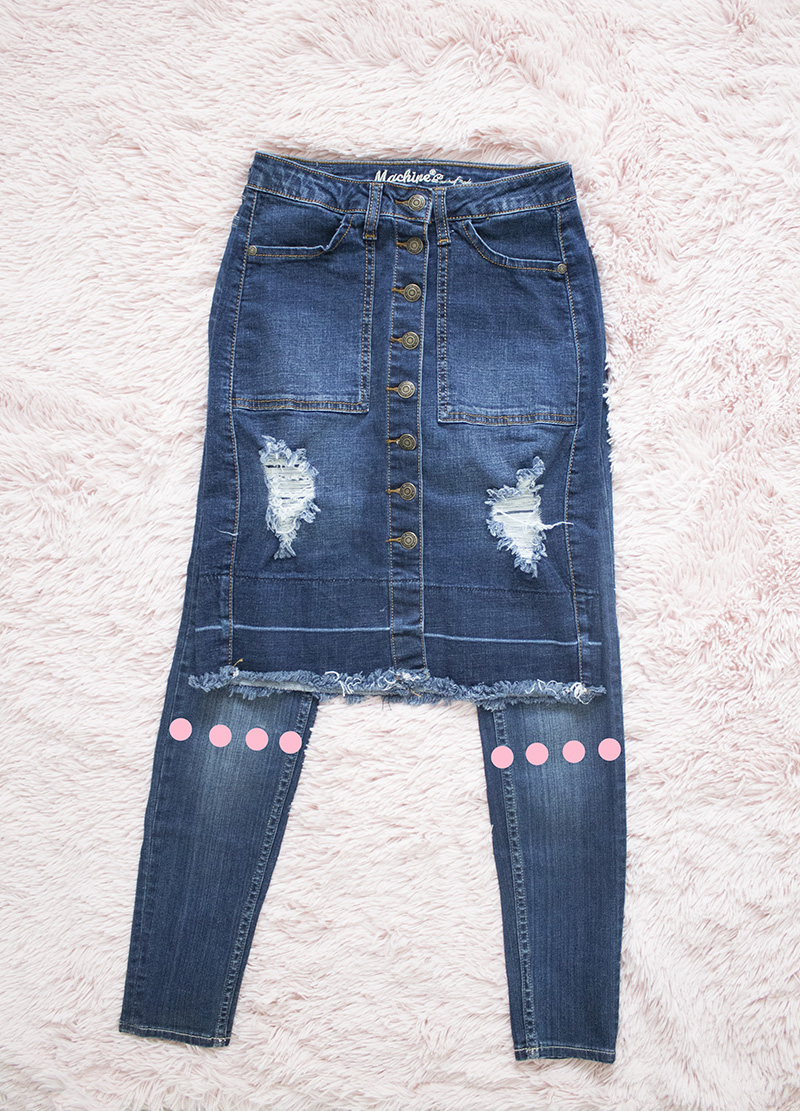 denim skirt on top of jeans to be refashioned