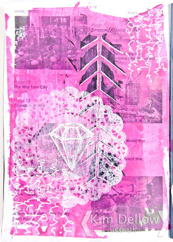 Art journal page in pink with a diamond frame and writing