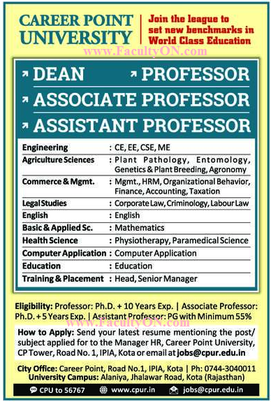 Career Point University, Kota, Wanted Teaching Faculty - Faculty