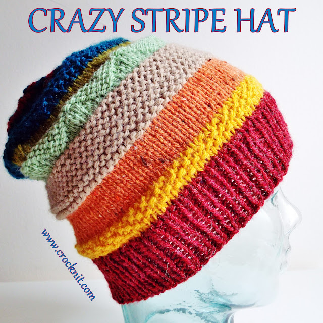 how to knit, free knit patterns, slouchy hats, crazy stripe hats,