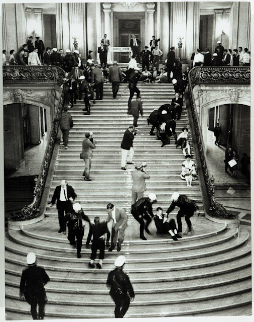 Demonstrators protesting HUAC hearings in City Hall, 1960. Courtesy of San Francisco History Center, San Francisco Public Library.