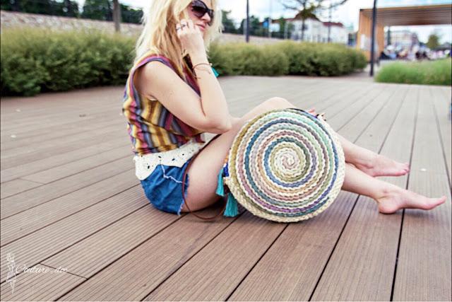 Torba, koszyk, pleciona, okrągła, handmade, kolorowa