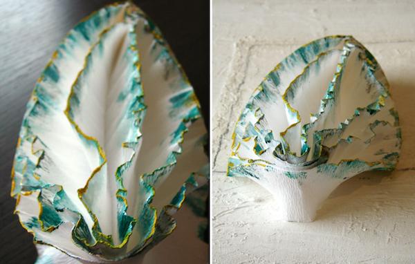 lampada in carta crespa fatta a mano in tile origami : lumaca di mare
