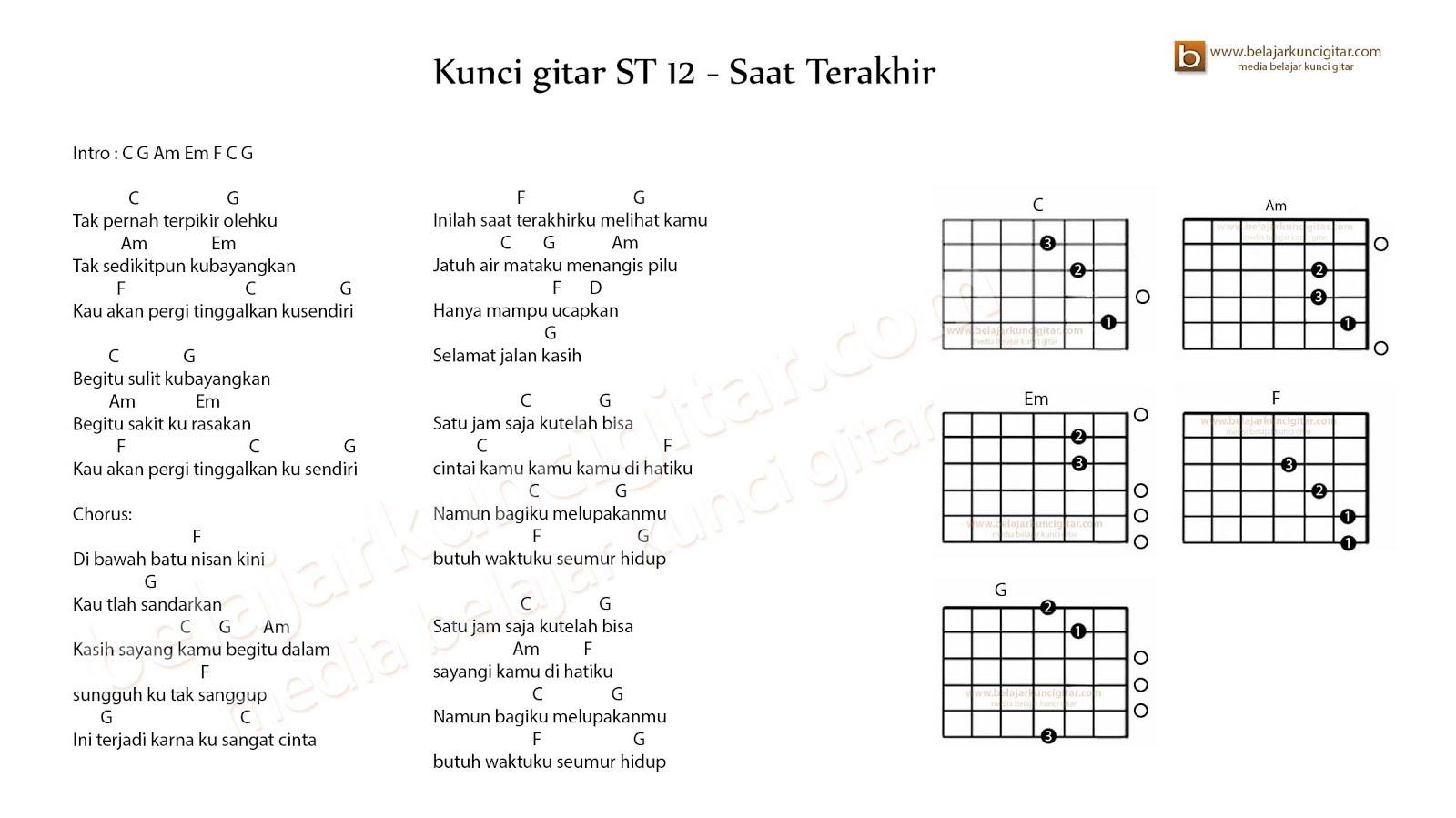 Kunci gitar ST 12 Saat Terakhir  belajar kunci gitar