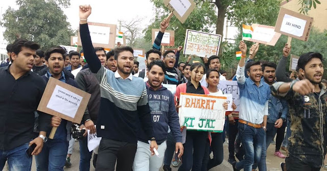 Students of Faridabad, D.A.V College organized mass rallies against terror attack