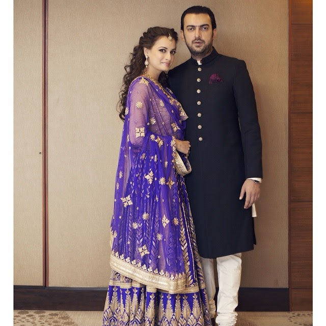the bride and the groom. sangeet,  dia mirza, sahil sangha,  photo credits: adil hasan