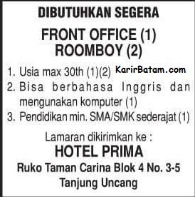Lowongan Kerja Hotel Prima Indonesia Batam