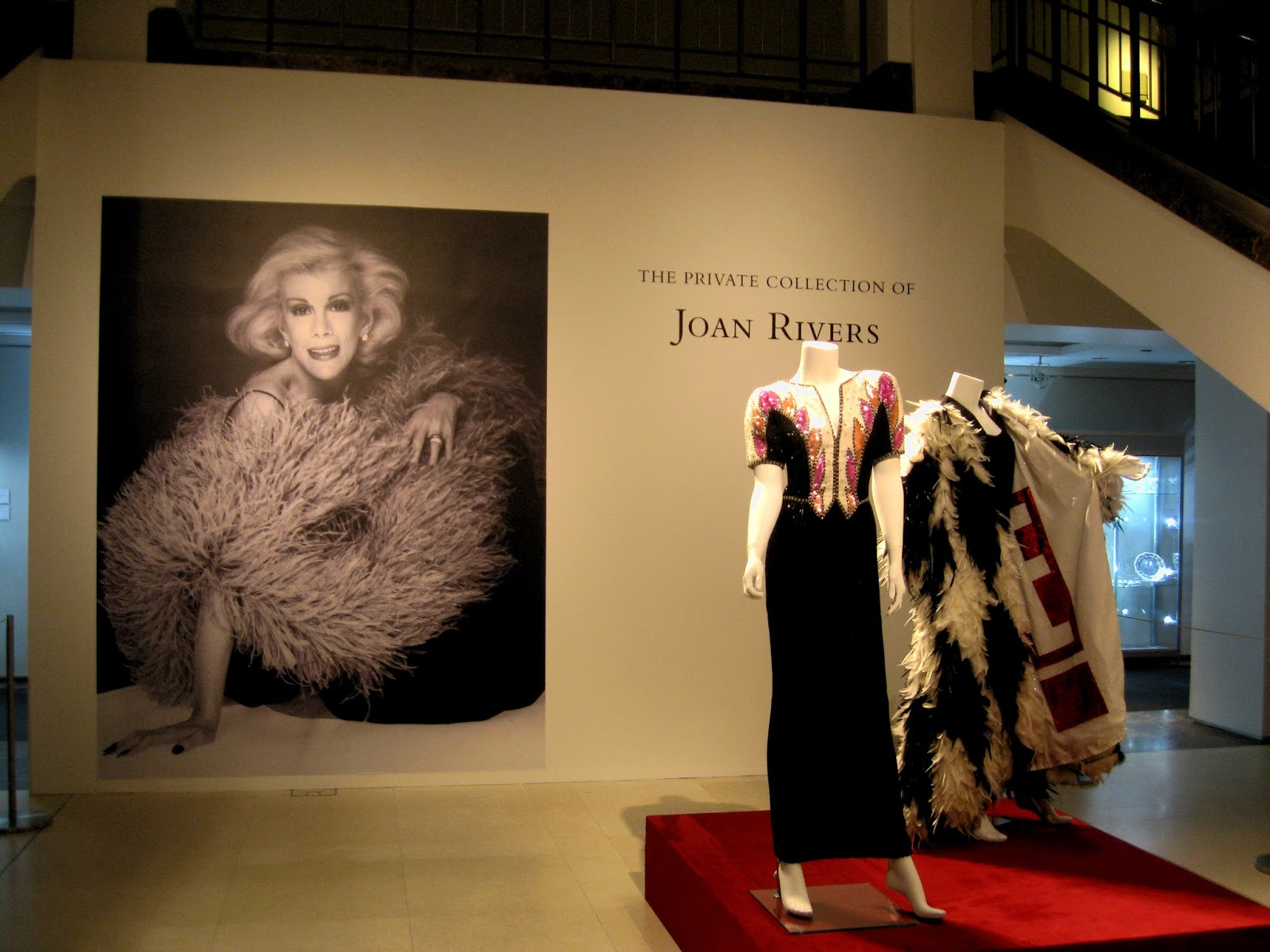 Joan Rivers' Private Collection Beaded Black Cream Pink Gown and Feathered Coat with E! logo lining [photo/edit by sookietex]
