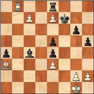 Partida de ajedrez Ribera-Medina, 1952, posición después de 43.Tb8