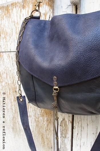 Besace bleu marine en cuir vintage Matières à réflexion