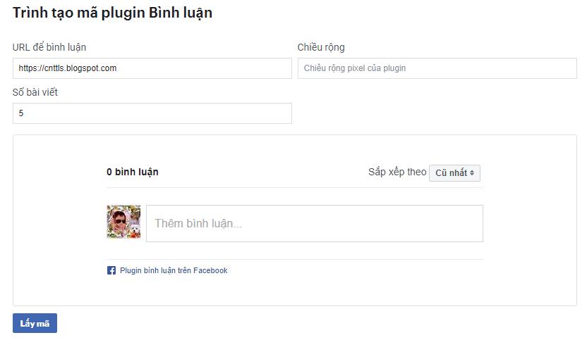 trình tạo plugin bình luận facebook