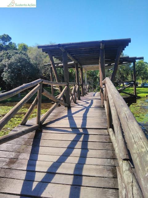 Ponto de madeira sobre o lago no Jardim Botânico de Timbó