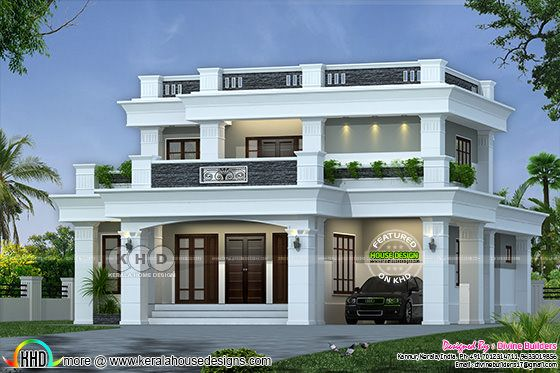₹40 Lakhs cost estimated decorative flat roof home