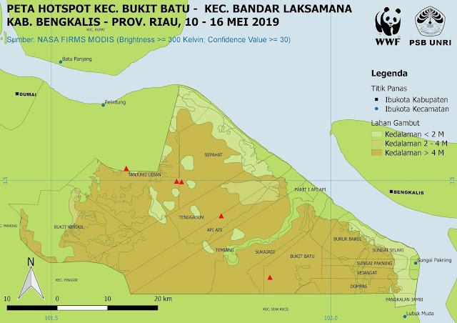 Peta Hotspot di Kecamatan Bukit Batu dan Bandar Laksamana, Kabupaten Bengkalis  Pada 10-16 Mei 2019