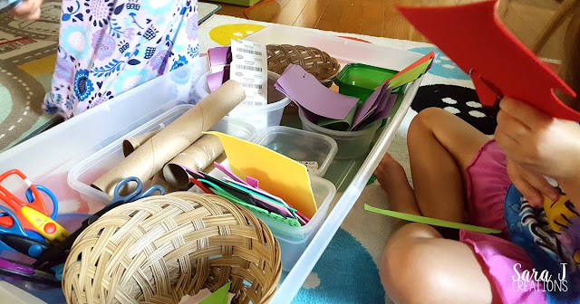 Setting up a cutting box is a great way to have fine motor cutting practice for kids.