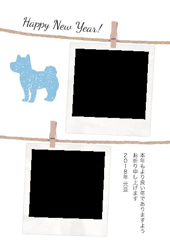 二枚のポラロイドの写真フレームと犬のガーリー年賀状(戌年・写真フレーム)