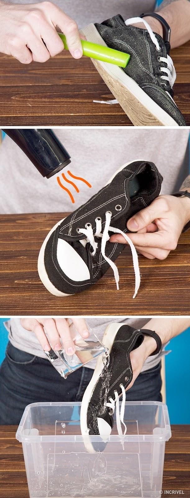 Passando cera nos tênis e secando-os com secador de cabelos, os calçados ficam impermeáveis (Reprodução/Incrível)