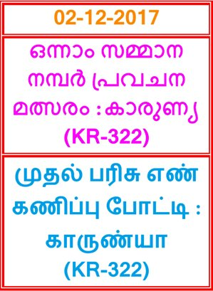First Prize Guessing compitition KARUNYA KR-322