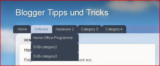 Screenshot eines Dropdown-Menüs auf einem Blog.